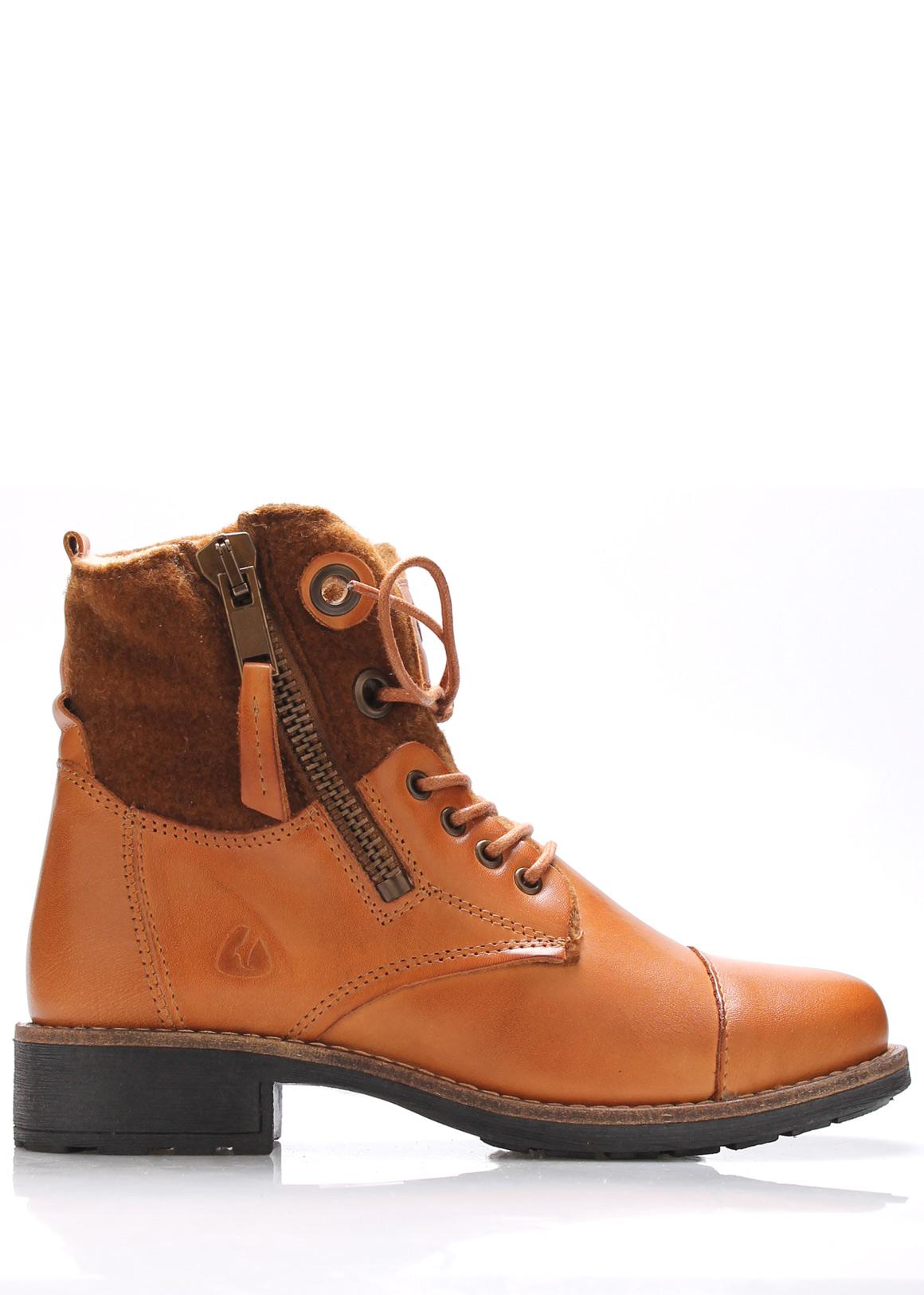 Hnědé kožené boty s kožíškem Online Shoes Velikost: 38