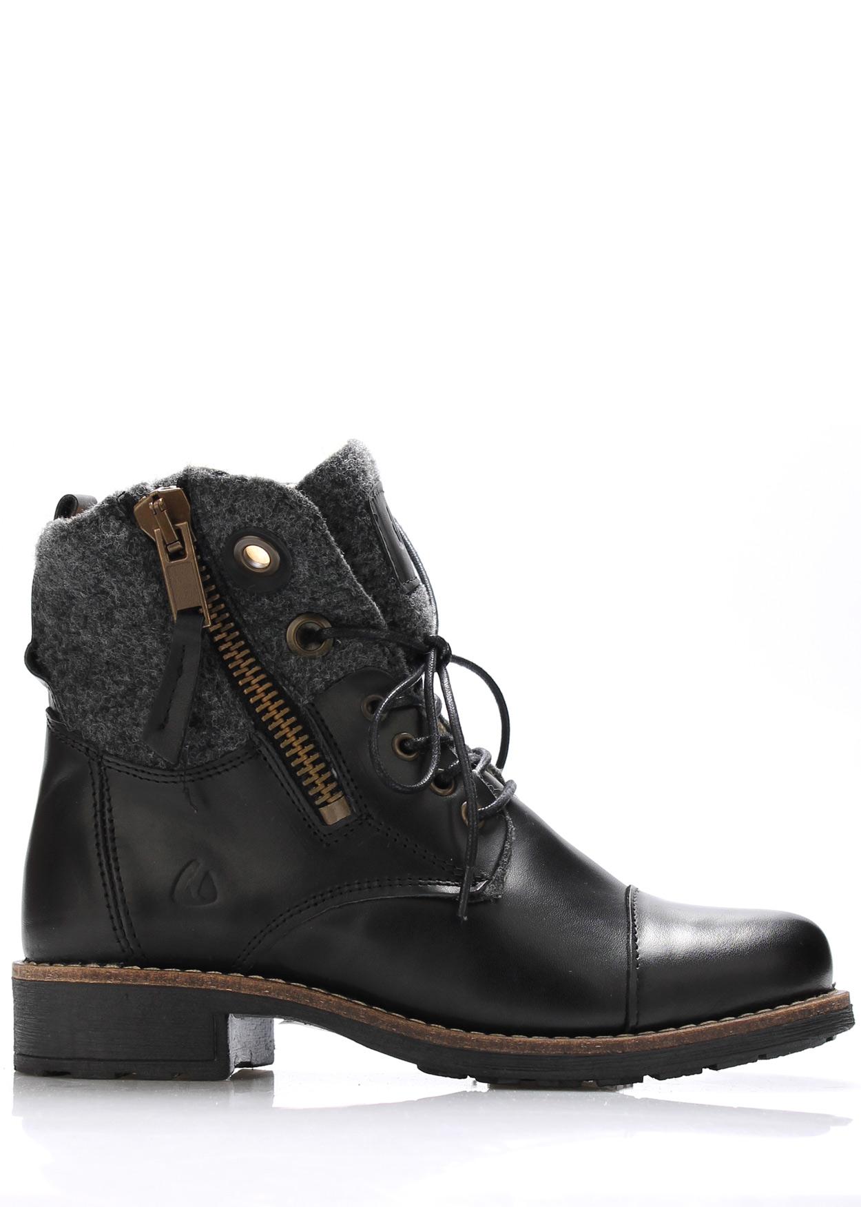 Černé kožené boty s kožíškem Online Shoes Velikost: 37