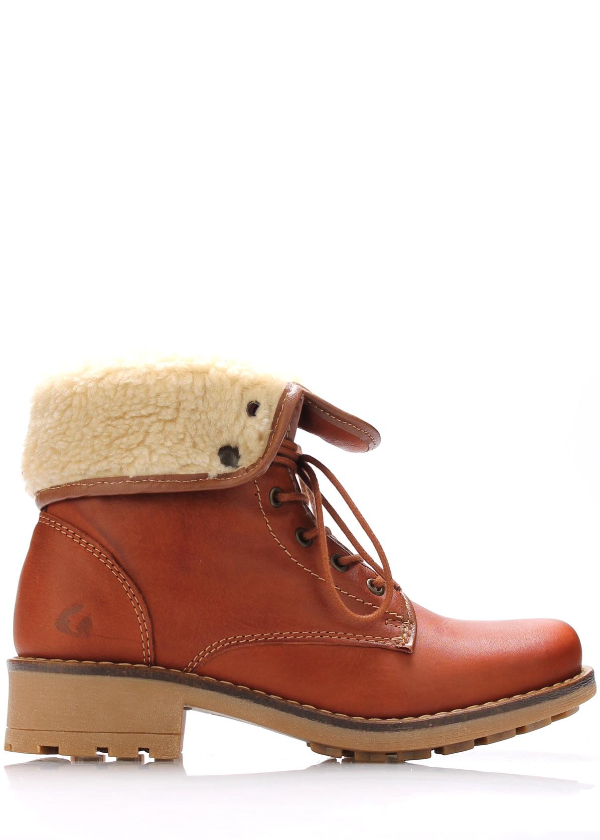 Hnědé kožené kotníkové boty s kožíškem Online Shoes Velikost: 39