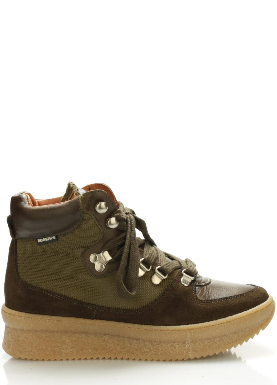Levně Tmavě zelené kožené boty Roobins Velikost: 41