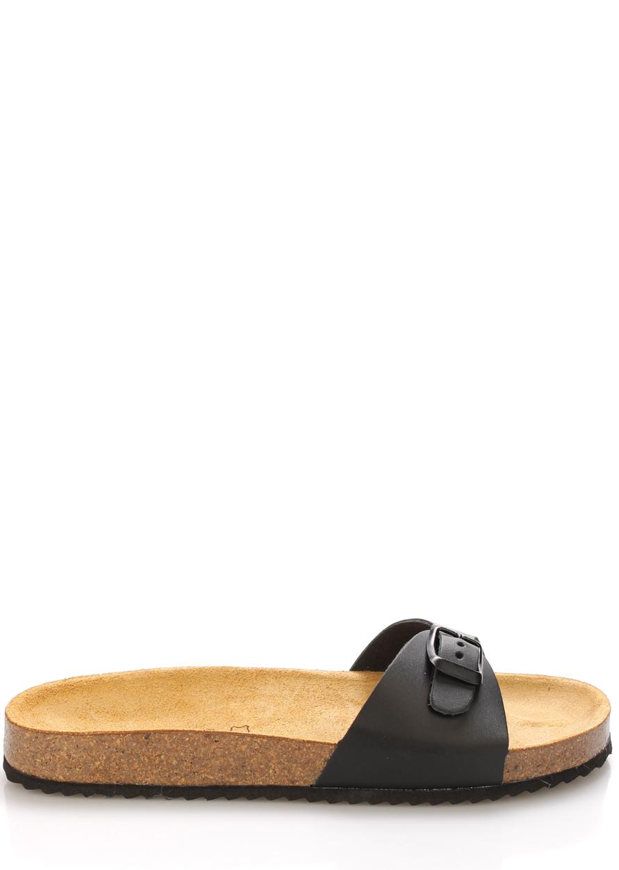 Černé nízké kožené zdravotní pantofle EMMA Shoes Velikost: 36