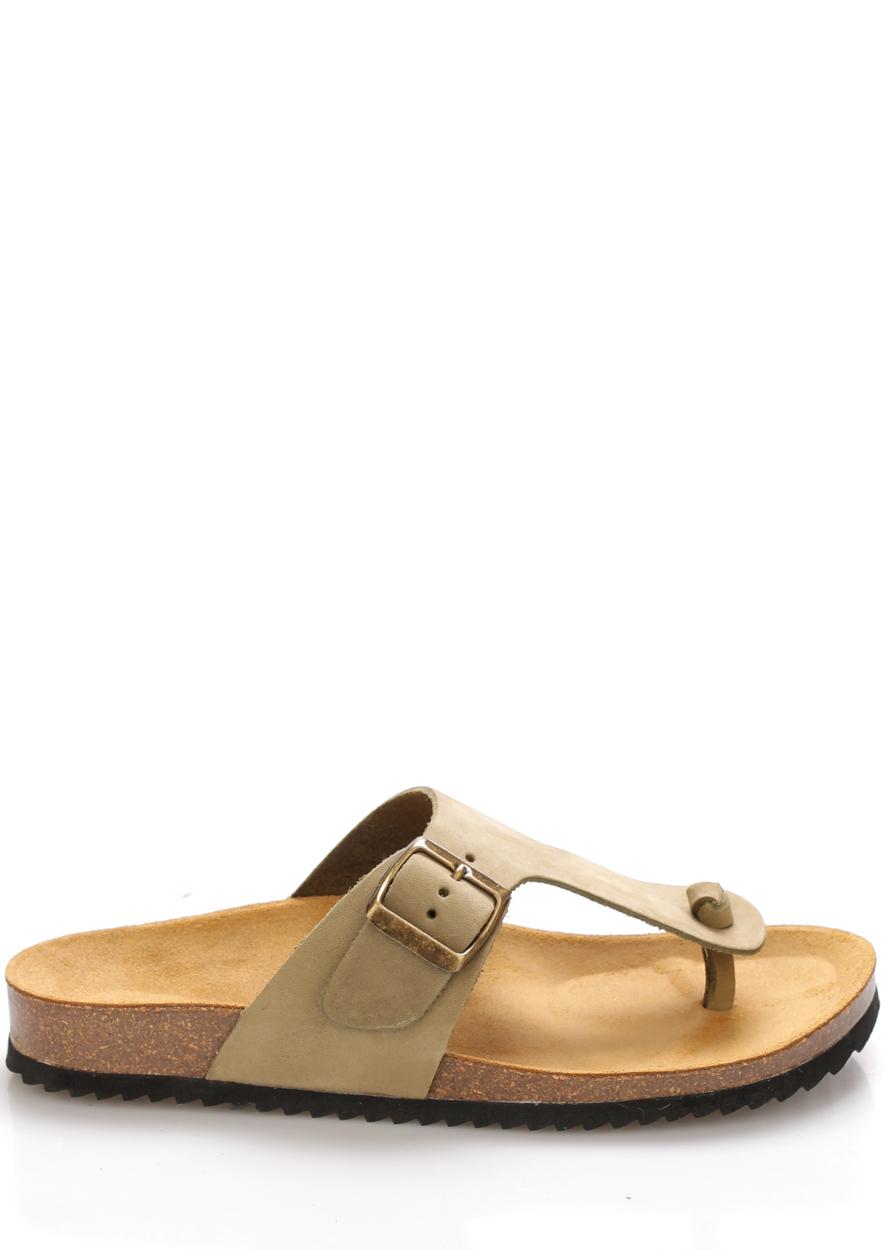 Olivově zelené kožené zdravotní pantofle EMMA Shoes Velikost: 36