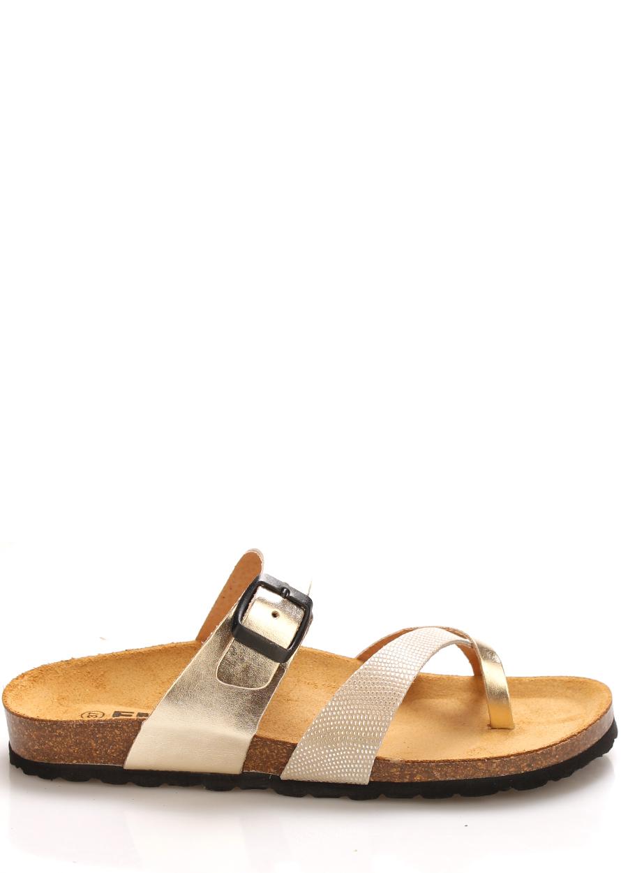 Zlaté kožené zdravotní pantofle EMMA Shoes Velikost: 36