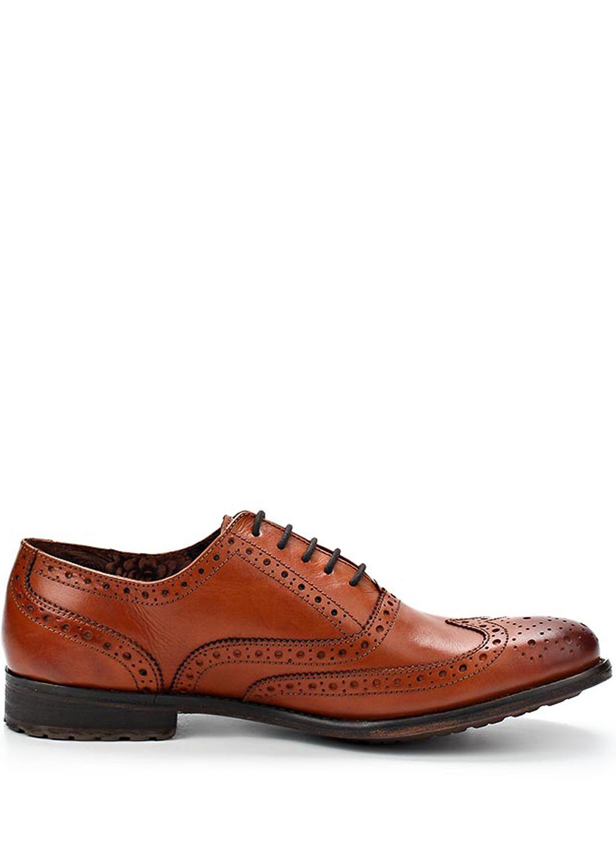 Levně Hnědé kožené boty Oxford Paolo Vandini Velikost: 44