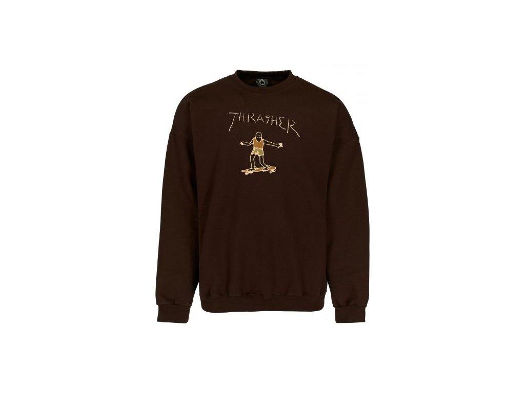 thrasher sweatshirts und pullover gonz logo crewneck dark chocolate vorderansicht 0423135 600x600