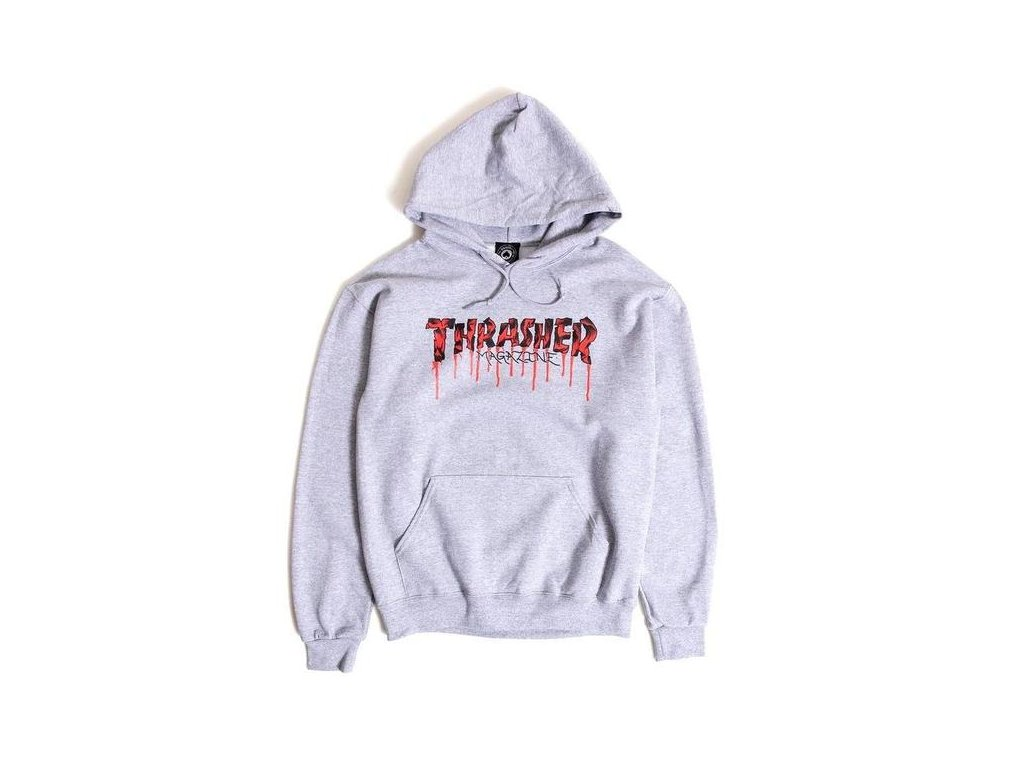 Thrasher Blood Drip Hoodie Ash Grey 600x600