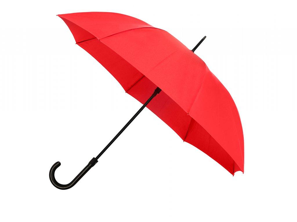 dámský červený holový deštník s rukojetí z umělé kůže