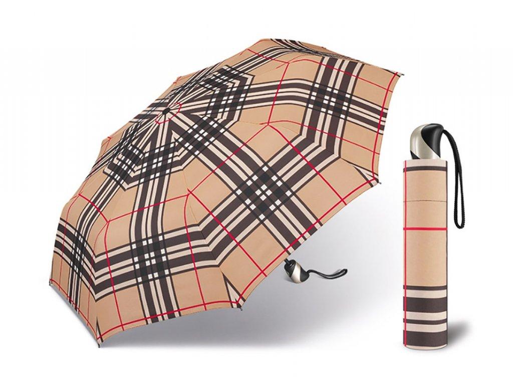 Happy Rain Checks Camel dámský skládací károvaný plně automatický deštník