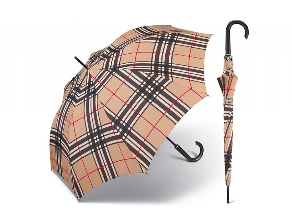 Happy Rain Long Checks Camel holový károvaný deštník v béžové barvě