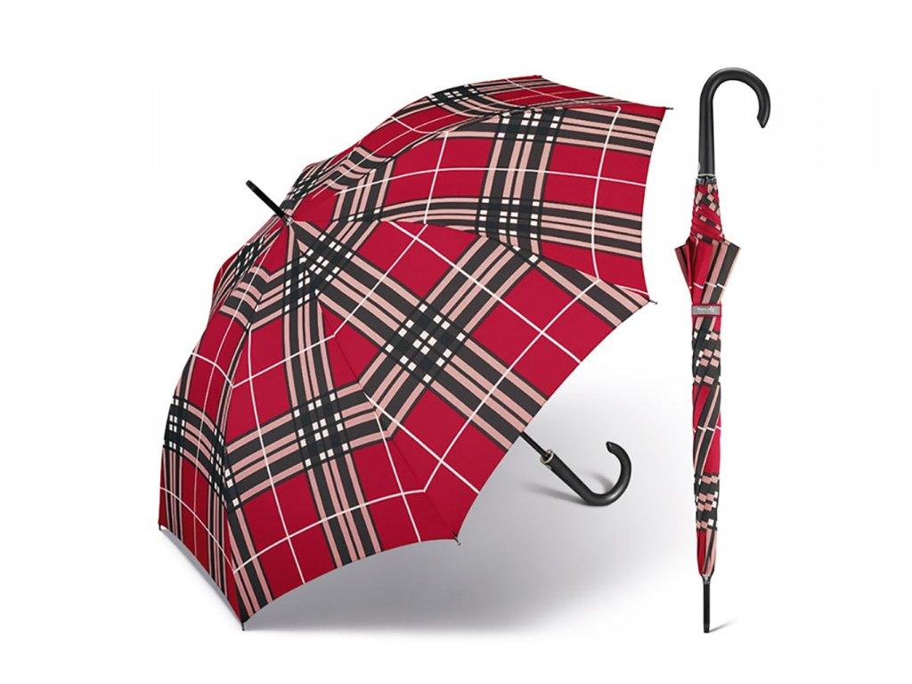 Happy Rain Long Checks Red holový károvaný deštník v červené barvě