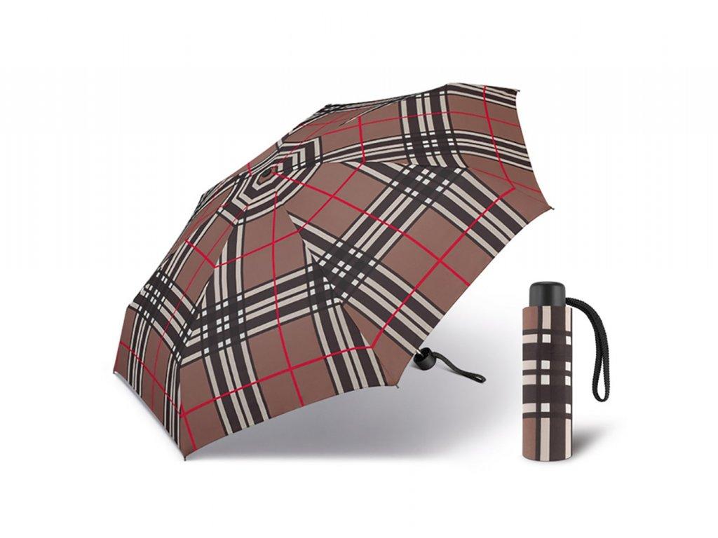 Happy Rain Petito Checks Brown dámský skládací mini deštník