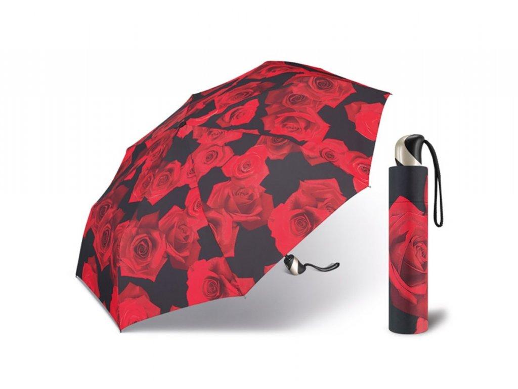 Happy Rain Red Rose dámský skládací plně automatický deštník