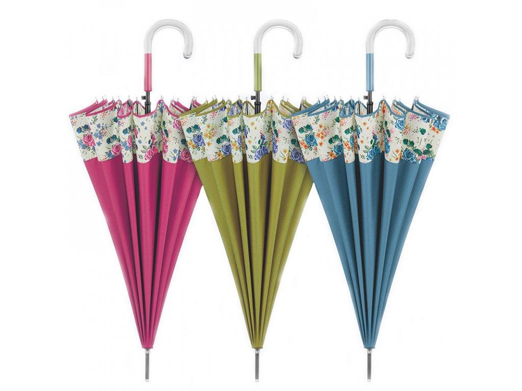 Dámský květovaný deštník s 16drátovou konstrukcí