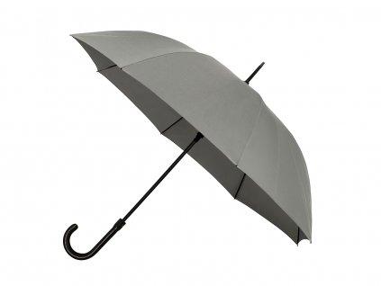 unisex šedý holový deštník s rukojetí z umělé kůže
