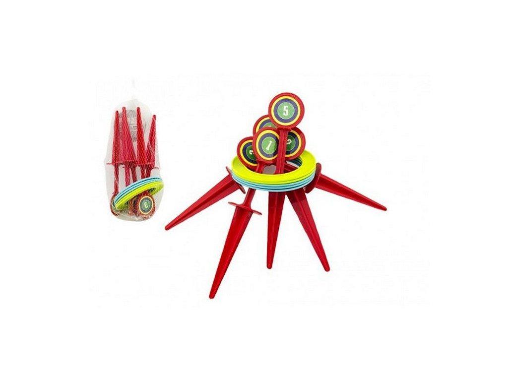 Hra házecí kroužky a kolíky plast v síťce, 25cm