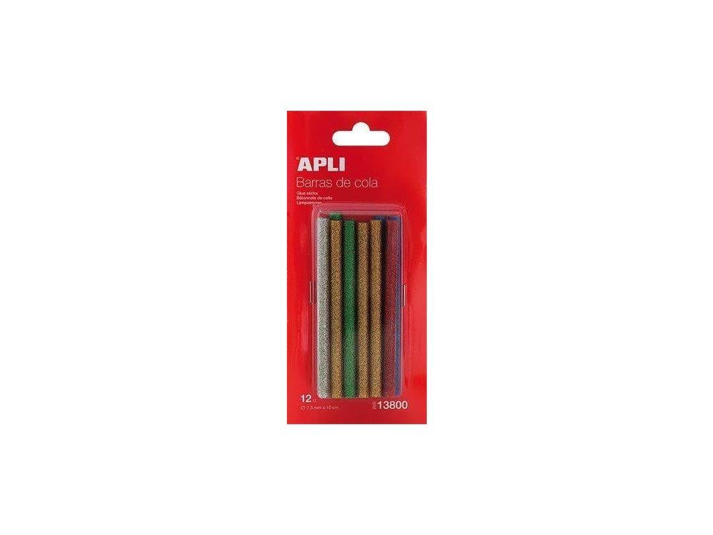 Lepící tyčinky do tavné pistole, barevné se třpytkami, APLI