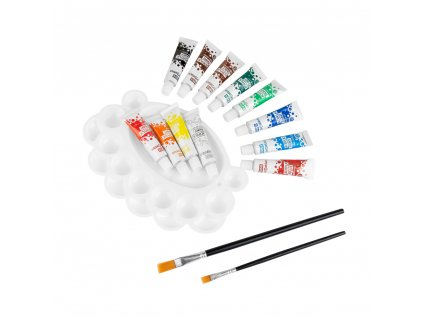 Akrylové barvy Easy Creative 12 barev, 2 štětce, paleta3