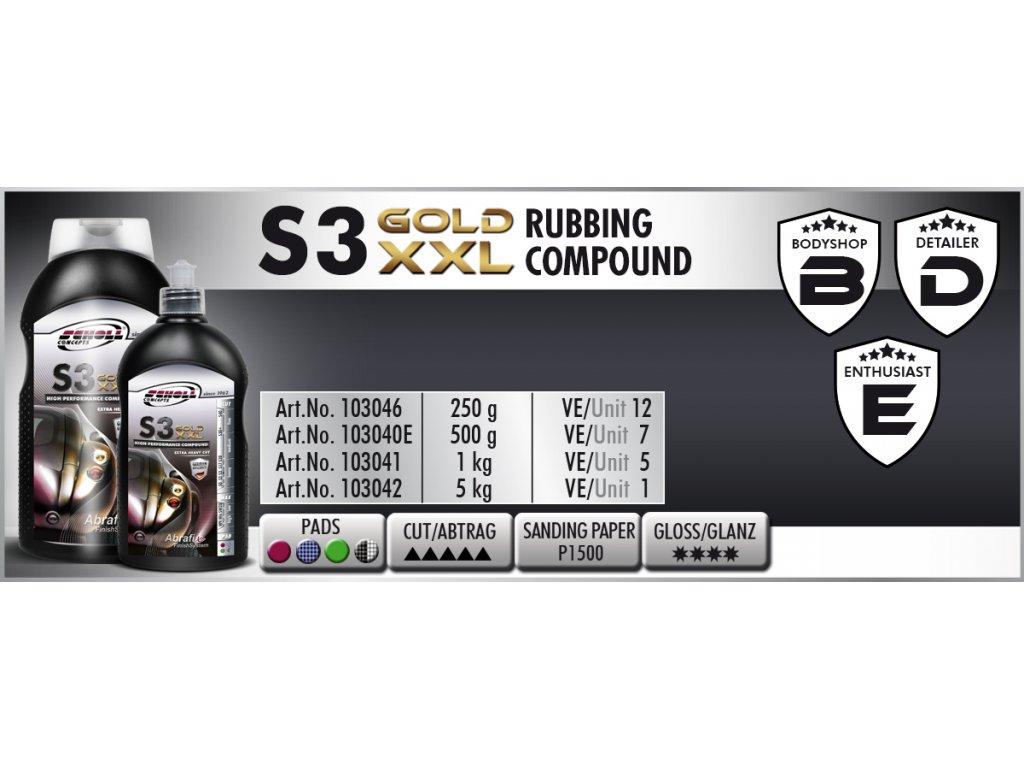 Scholl S3 GOLD XXL Rubbing Compound 500g silná leštící pasta