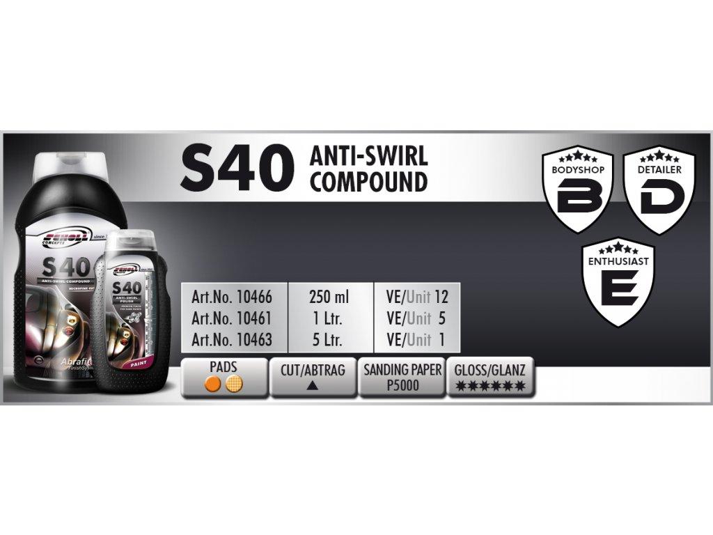 Scholl S40 Anti-Swirl Compound 1L finišovací pasta