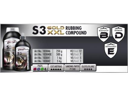 Scholl S3 GOLD XXL Rubbing Compound 250g silná leštící pasta