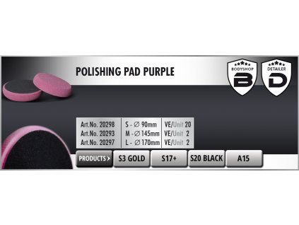 Scholl M Polishing Pad 145/30mm purple leštící kotouč