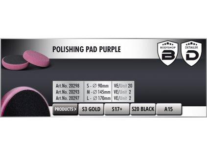 Scholl M Polishing Pad 145/30mm purple leštící kotouč