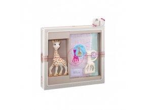 Vulli Dárkový set - žirafa Sophie + pouzdro na zápisky & kousátko v barvě Ivory