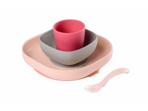 Jídelní sada silikonová 4-dílná Pink