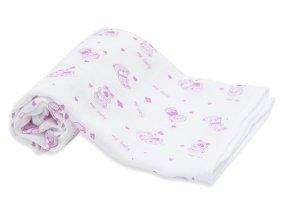 Scamp látkové pleny 70x70,3ks,pink-medvídek