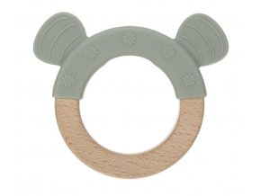 Teether Ring Wood/Silicone Little Chums cat