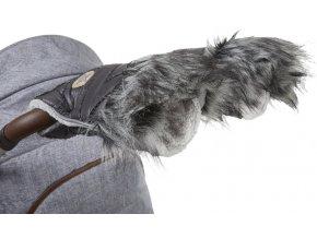 rukavice na kočár DeLuxe 2020 tm.šedá/stříbrný prošev/sv.šedá