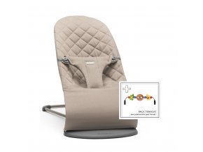 Lehátko Babybjorn Bouncer Bliss  Sand Grey cotton + hračka očička Googly Eyes