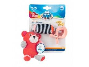 Canpol babies Plyšová hračka s klipem MEDVÍDCI červená