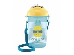 Canpol babies Cestovní sportovní láhev se slámkou a víčkem SO COOL Ananas 350ml