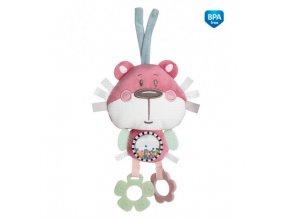 Canpol babies Plyšová edukační zavazovací hračka PASTEL FRIENDS růžový medvídek