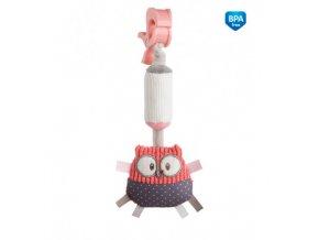 Canpol babies Plyšová hračka se zvonečkem a klipem PASTEL FRIENDS červená sova