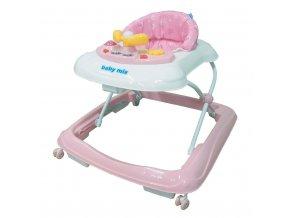 Dětské chodítko Baby Mix s volantem a silikonovými kolečky pink