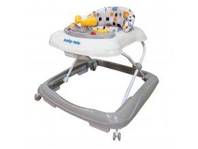 Dětské chodítko Baby Mix s volantem a silikonovými kolečky grey