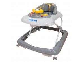 Dětské chodítko Baby Mix s volantem a silikonovými kolečky graphit