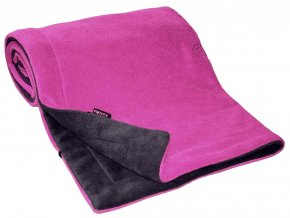 Deka  70x100 cm fleece antracit + fuchsie