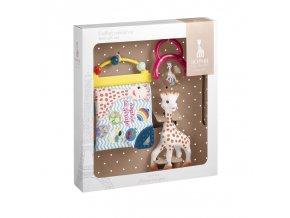 Vulli Dárkový set: žirafa Sophie + knížka + chrastítko
