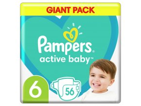 Plenky Active Baby 6 EXTRA LARGE 16kg+ 56ks Pampers