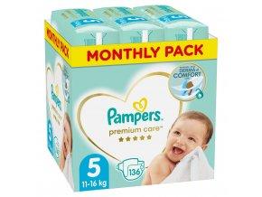 Měsíční zásoba plenek Premium Care 5 JUNIOR 11-16kg 136ks Pampers