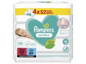PAMPERS Sensitive 4x52 ks - vlhčené ubrousky