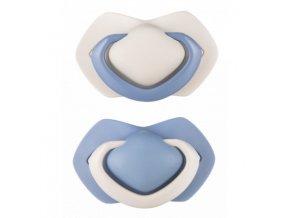 A - Canpol babies set symetrických silikonových dudlíků 0-6m PURE COLOR modrý