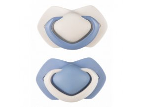 B - Canpol babies set symetrických silikonových dudlíků 6-18m PURE COLOR modrý