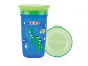 NUBY Hrneček netekoucí 360° 300ml, 6 m+ modrá/zelená