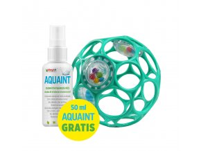 OBALL Hračka Oball RATTLE 10 cm 0m+ dark turquoise + 50 ml Aquaint