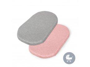 CEBA Prostěradlo do kočárku 73-80 x 30-37 cm 2 ks Light Grey+Pink