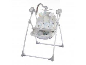 Dětské lehátko s houpátkem kolotočem a ovladačem Baby Mix světle šedé